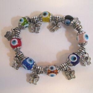 armband blauwe boze oog vlinders
