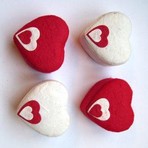 Doosje hart loctapapier rood/wit 7cm ass.
